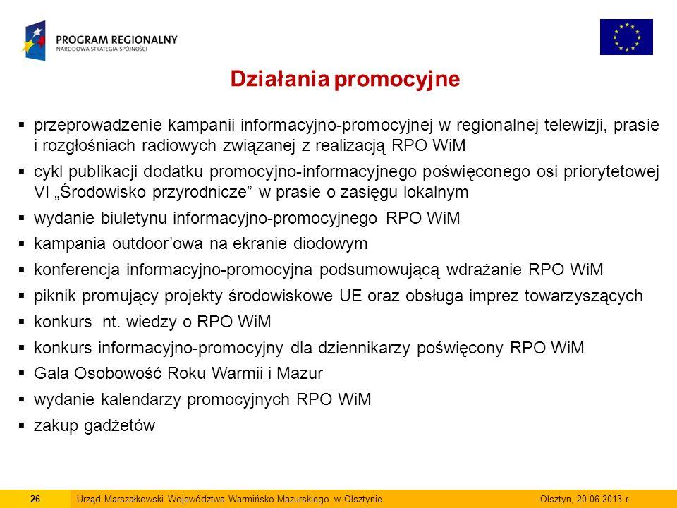26Urząd Marszałkowski Województwa Warmińsko-Mazurskiego w Olsztynie Olsztyn, 20.06.2013 r.