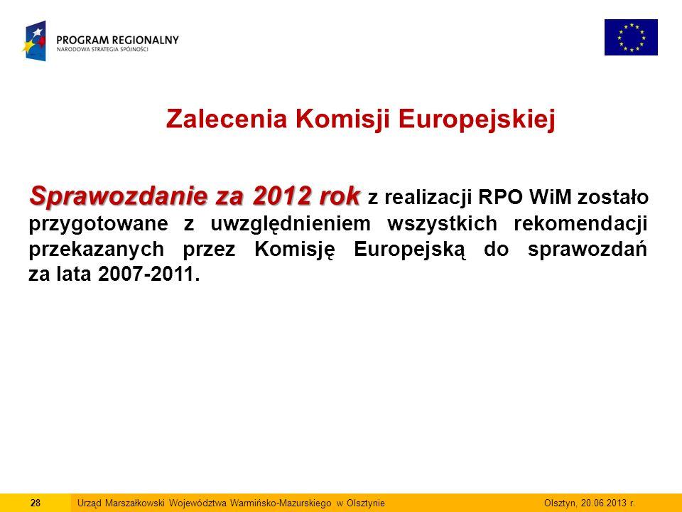 28Urząd Marszałkowski Województwa Warmińsko-Mazurskiego w Olsztynie Olsztyn, 20.06.2013 r.