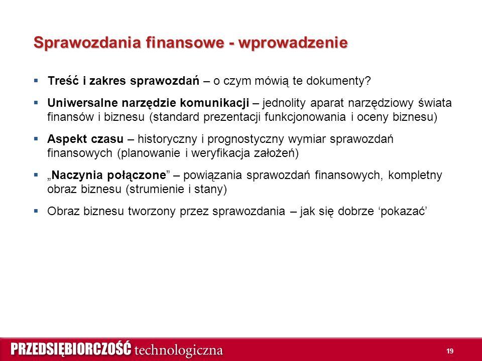 19 Sprawozdania finansowe - wprowadzenie  Treść i zakres sprawozdań – o czym mówią te dokumenty.