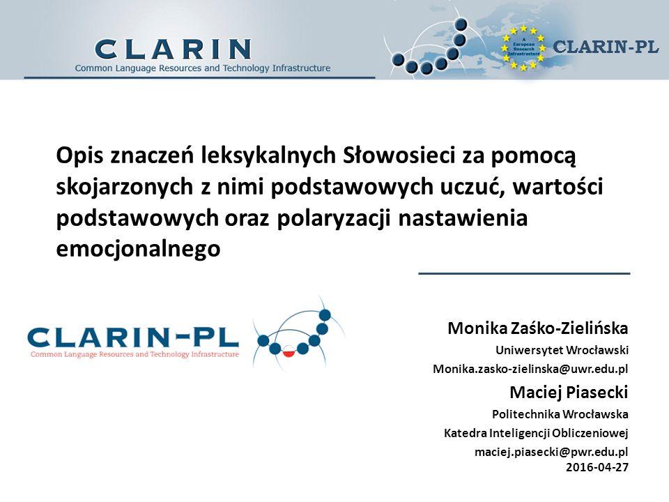CLARIN-PL Opis znaczeń leksykalnych Słowosieci za pomocą skojarzonych z nimi podstawowych uczuć, wartości podstawowych oraz polaryzacji nastawienia em