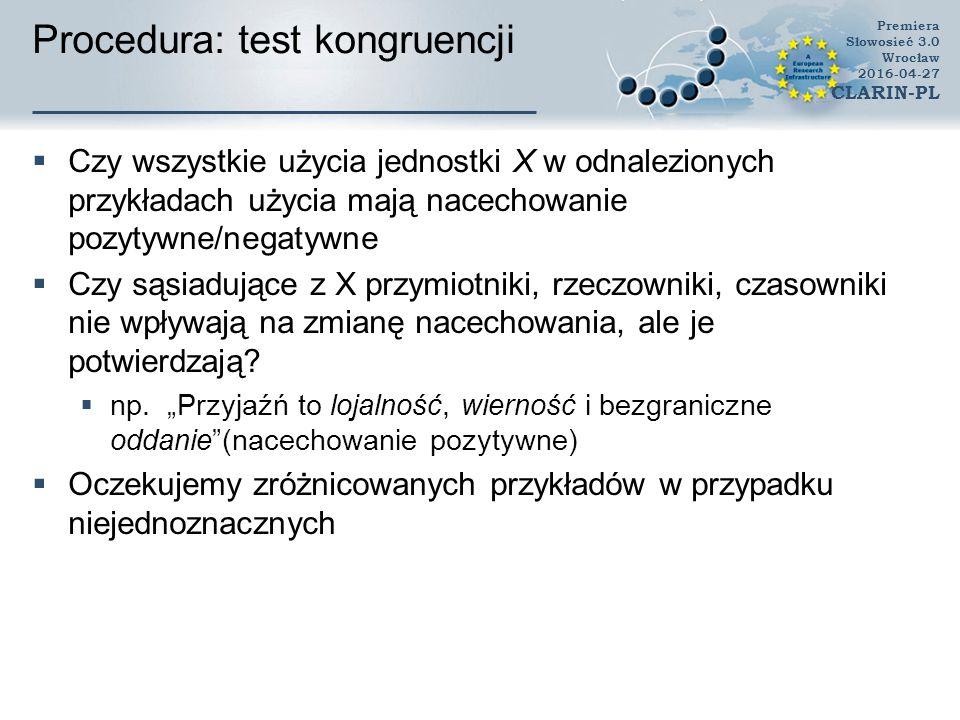 Procedura: test kongruencji  Czy wszystkie użycia jednostki X w odnalezionych przykładach użycia mają nacechowanie pozytywne/negatywne  Czy sąsiadujące z X przymiotniki, rzeczowniki, czasowniki nie wpływają na zmianę nacechowania, ale je potwierdzają.