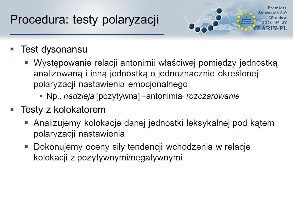 Procedura: testy polaryzacji  Test dysonansu  Występowanie relacji antonimii właściwej pomiędzy jednostką analizowaną i inną jednostką o jednoznaczn