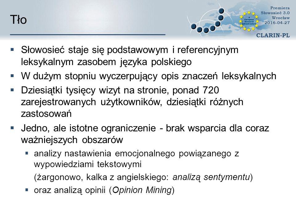 Tło  Słowosieć staje się podstawowym i referencyjnym leksykalnym zasobem języka polskiego  W dużym stopniu wyczerpujący opis znaczeń leksykalnych  Dziesiątki tysięcy wizyt na stronie, ponad 720 zarejestrowanych użytkowników, dziesiątki różnych zastosowań  Jedno, ale istotne ograniczenie - brak wsparcia dla coraz ważniejszych obszarów  analizy nastawienia emocjonalnego powiązanego z wypowiedziami tekstowymi (żargonowo, kalka z angielskiego: analizą sentymentu)  oraz analizą opinii (Opinion Mining) Premiera Słowosieć 3.0 Wrocław 2016-04-27 CLARIN-PL