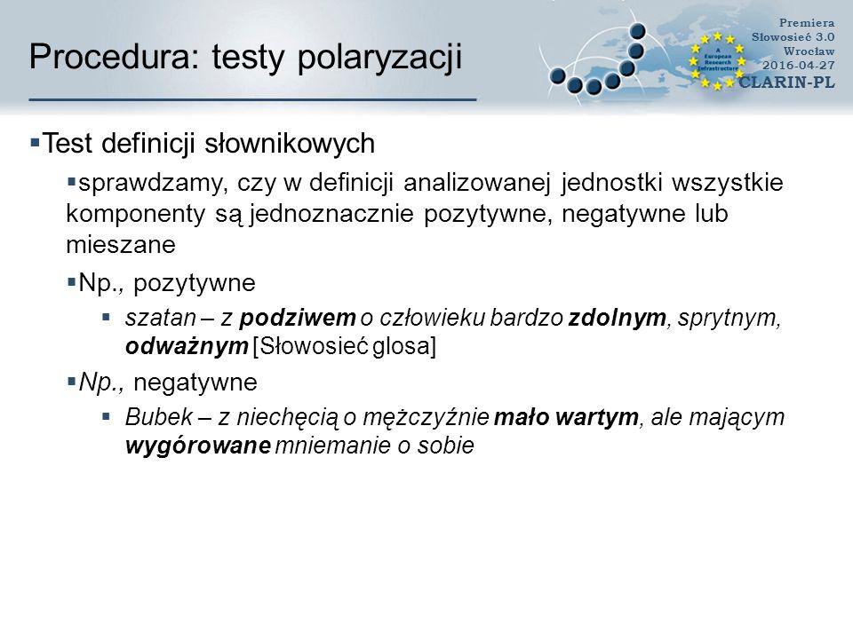 Procedura: testy polaryzacji  Test definicji słownikowych  sprawdzamy, czy w definicji analizowanej jednostki wszystkie komponenty są jednoznacznie