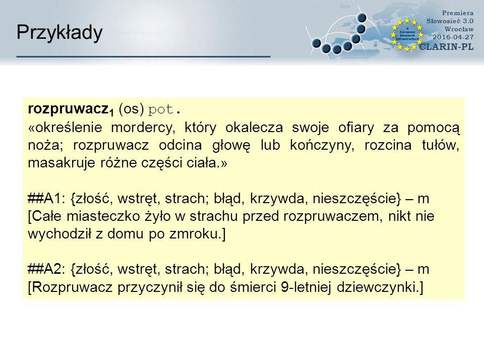 Przykłady Premiera Słowosieć 3.0 Wrocław 2016-04-27 CLARIN-PL rozpruwacz 1 (os) pot. « określenie mordercy, który okalecza swoje ofiary za pomocą noża