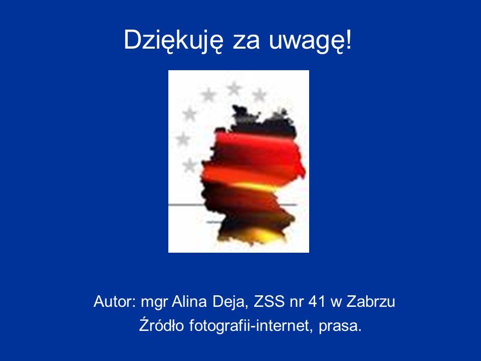 Dziękuję za uwagę! Autor: mgr Alina Deja, ZSS nr 41 w Zabrzu Źródło fotografii-internet, prasa.