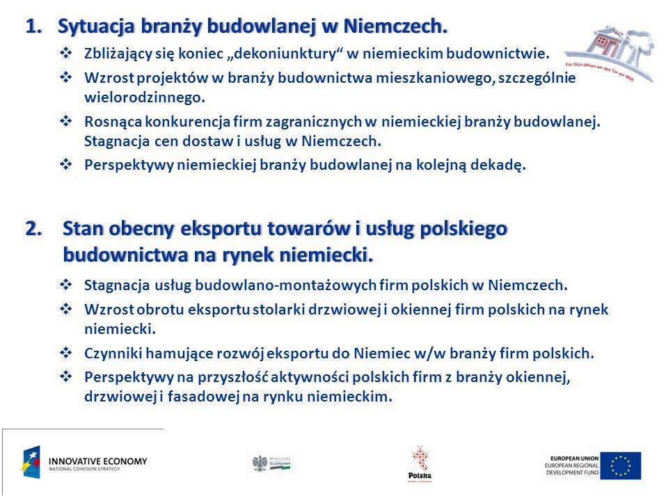 """3.Nowe formy działalności gospodarczej polskich producentów i usługodawców z branży """"okien, drzwi i fasad w Niemczech."""