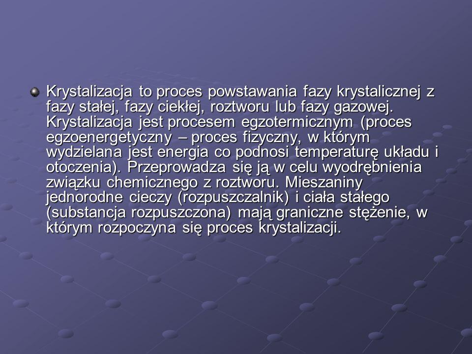 Krystalizacja to proces powstawania fazy krystalicznej z fazy stałej, fazy ciekłej, roztworu lub fazy gazowej. Krystalizacja jest procesem egzotermicz