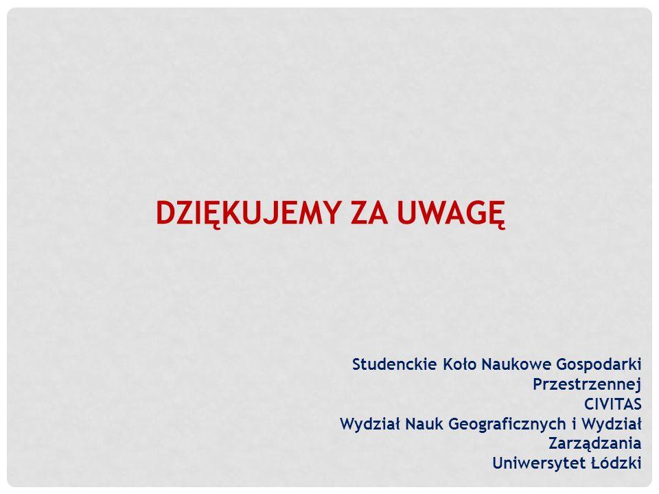 DZIĘKUJEMY ZA UWAGĘ Studenckie Koło Naukowe Gospodarki Przestrzennej CIVITAS Wydział Nauk Geograficznych i Wydział Zarządzania Uniwersytet Łódzki