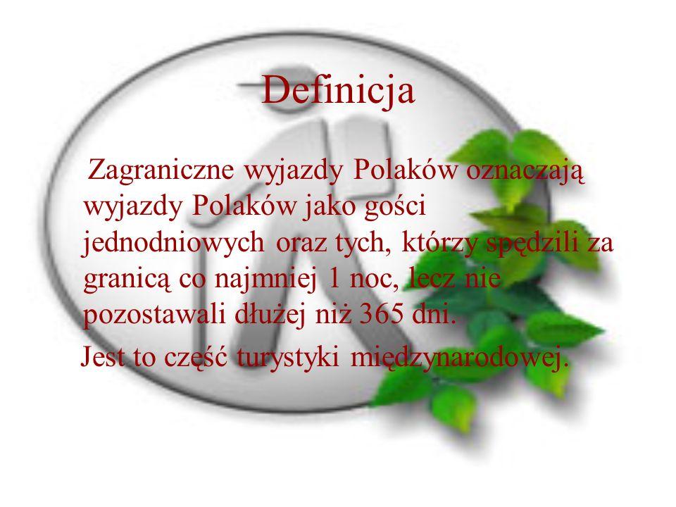Definicja Zagraniczne wyjazdy Polaków oznaczają wyjazdy Polaków jako gości jednodniowych oraz tych, którzy spędzili za granicą co najmniej 1 noc, lecz nie pozostawali dłużej niż 365 dni.