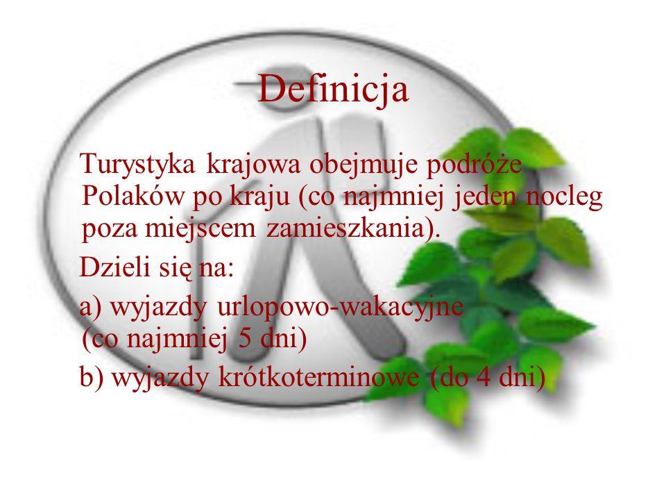 Definicja Turystyka krajowa obejmuje podróże Polaków po kraju (co najmniej jeden nocleg poza miejscem zamieszkania).