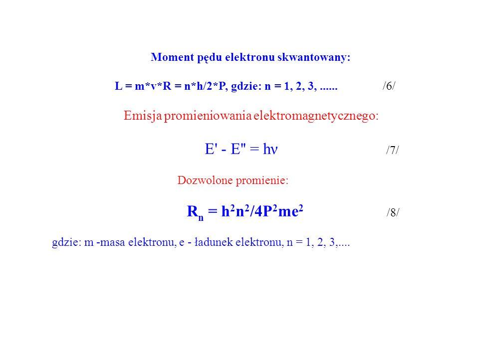 Moment pędu elektronu skwantowany: L = m*v*R = n*h/2*P, gdzie: n = 1, 2, 3,......