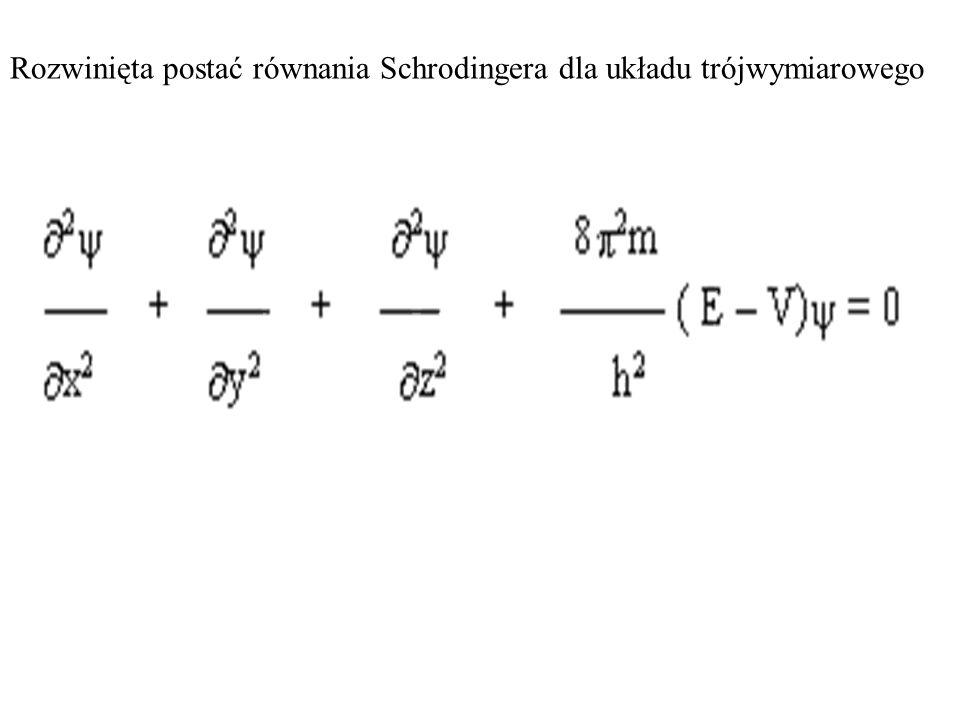 Rozwinięta postać równania Schrodingera dla układu trójwymiarowego