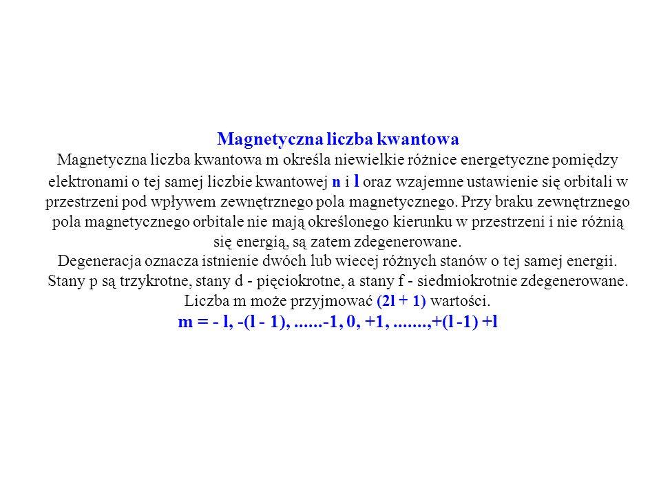 Magnetyczna liczba kwantowa Magnetyczna liczba kwantowa m określa niewielkie różnice energetyczne pomiędzy elektronami o tej samej liczbie kwantowej n i l oraz wzajemne ustawienie się orbitali w przestrzeni pod wpływem zewnętrznego pola magnetycznego.