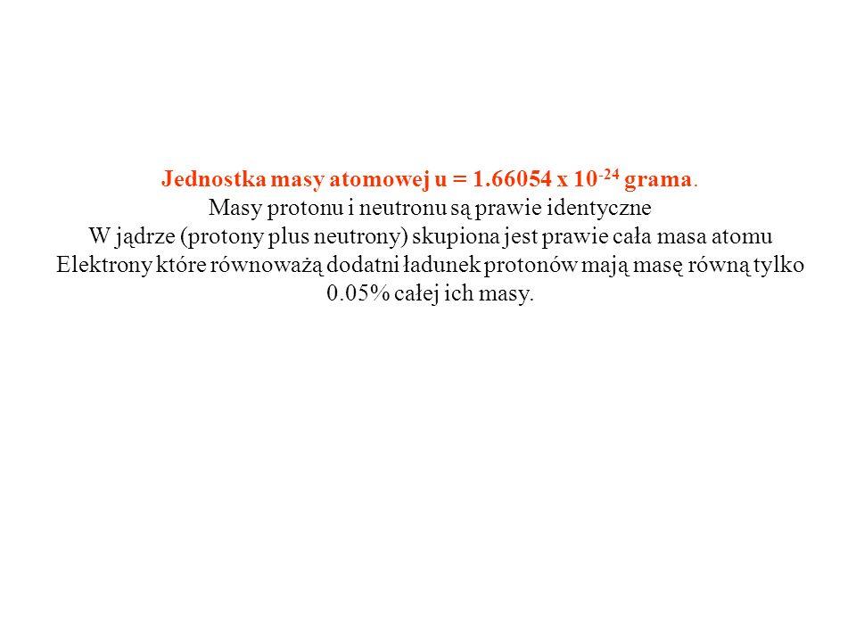 Jednostka masy atomowej u = 1.66054 x 10 -24 grama.