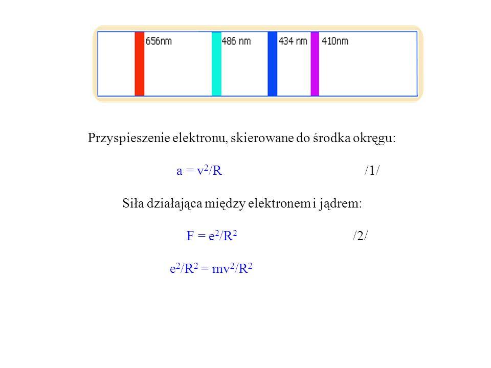 mv 2 = e 2 /R /3/ Całkowita energia elektronu na orbicie (energia kinetyczna plus energia potencjalna) : E = T + V = mv 2 /2 - e 2 /R /4/ który po zastosowaniu równania mv 2 = e 2 /R przyjmuje postać: E = -e 2 / 2R /5/ Tylko pewne z możliwych orbit mogą być dozwolone, te orbity, dla których jest spełniony pewien kwantowy warunek związany z warunkiem Einsteina i Plancka.