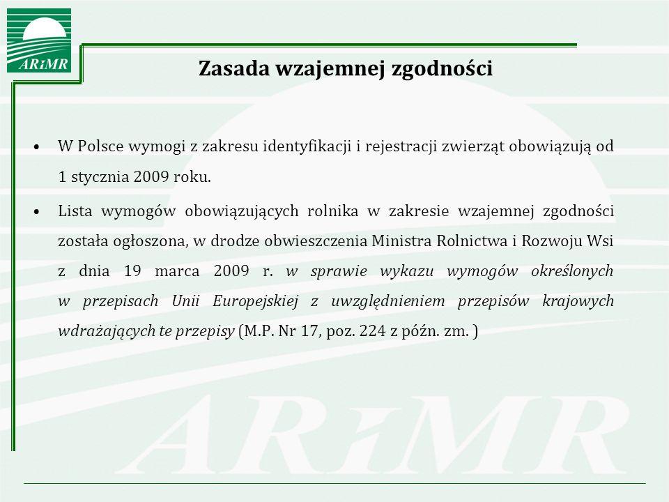 Zasada wzajemnej zgodności W Polsce wymogi z zakresu identyfikacji i rejestracji zwierząt obowiązują od 1 stycznia 2009 roku.