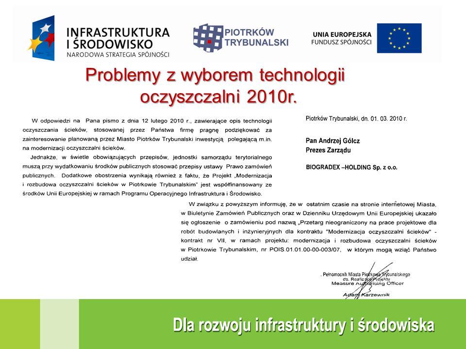 Problemy z wyborem technologii oczyszczalni 2010r.
