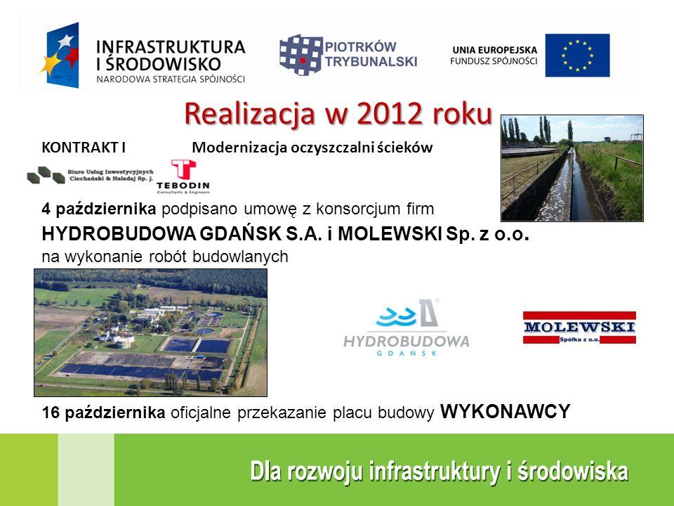 Realizacja w 2012 roku KONTRAKT I Modernizacja oczyszczalni ścieków 4 października podpisano umowę z konsorcjum firm HYDROBUDOWA GDAŃSK S.A. i MOLEWSK