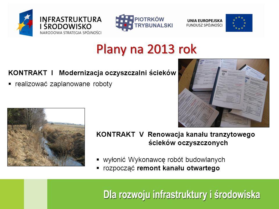 Plany na 2013 rok KONTRAKT I Modernizacja oczyszczalni ścieków  realizować zaplanowane roboty KONTRAKT V Renowacja kanału tranzytowego ścieków oczysz