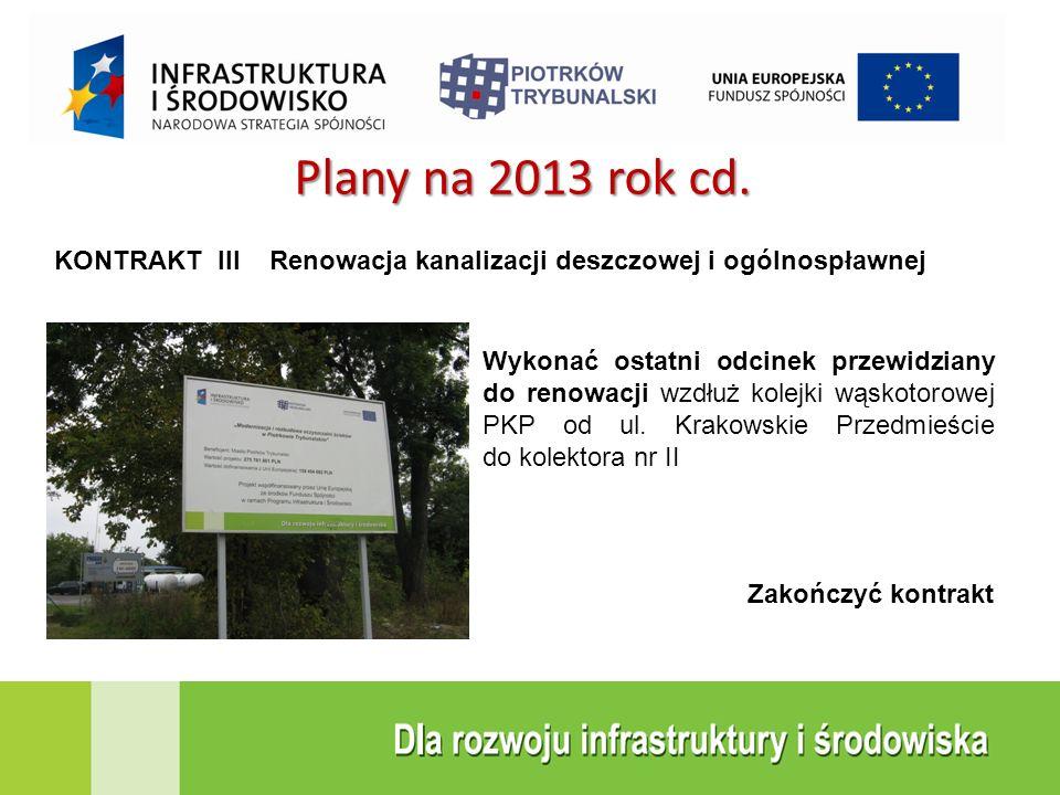 KONTRAKT III Renowacja kanalizacji deszczowej i ogólnospławnej Plany na 2013 rok cd. Wykonać ostatni odcinek przewidziany do renowacji wzdłuż kolejki