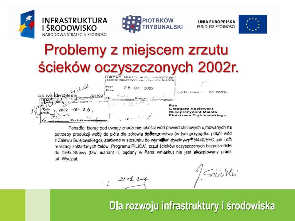 Problemy z miejscem zrzutu ścieków oczyszczonych 2002r.