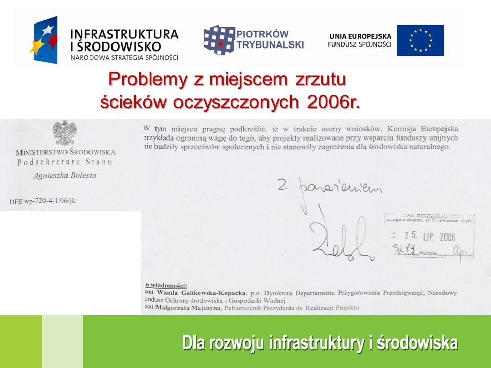 Problemy z miejscem zrzutu ścieków oczyszczonych 2006r.