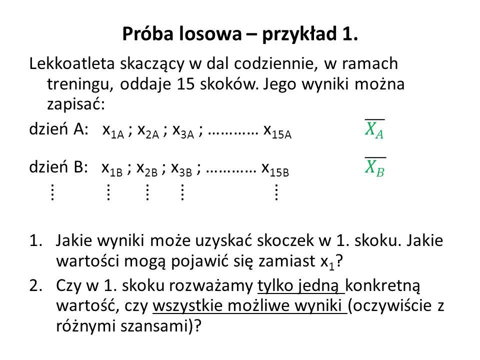 Zmienna losowa i próba losowa W zakresie rozważań teoretycznych, rezultat pierwszego skoku nie jest konkretną liczbą, lecz szeregiem możliwych do uzyskania (z różnym prawdopodobieństwem) rezultatów.