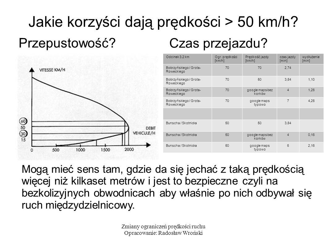 Zmiany ograniczeń prędkości ruchu Opracowanie: Radosław Wroński Podniesione prędkości dopuszczalne wyłącznie na bezkolizyjnych obwodnicach i drogach wylotowych (pojedyncze wyjątki wewnątrz obwodnic) Na głównych ulicach miejskich z przejściami dla pieszych i skrzyżowaniami, nawet na ważnych wielopasowych arteriach – standardowe 50 km/h Poza głównymi ulicami – rosnąca liczba stref tempo30 Jak wyglądają prędkości dopuszczalne w innych miastach?