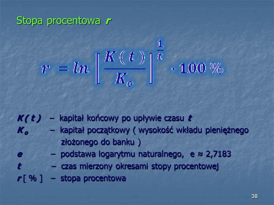 Stopa procentowa r K ( t ) – kapitał końcowy po upływie czasu t K o – kapitał początkowy ( wysokość wkładu pieniężnego złożonego do banku ) złożonego do banku ) e – podstawa logarytmu naturalnego, e ≈ 2,7183 t – czas mierzony okresami stopy procentowej r [ % ] – stopa procentowa 38
