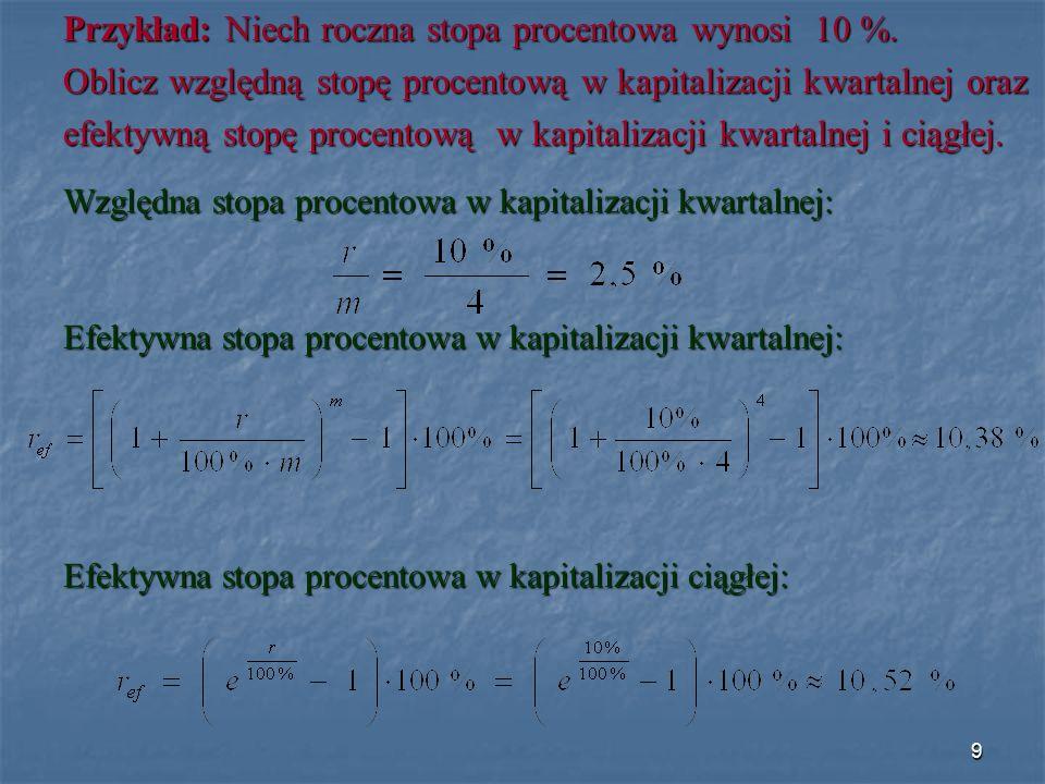 Czas mierzony okresami stopy procentowej t K ( t ) – kapitał końcowy po upływie czasu t K o – kapitał początkowy ( wysokość wkładu pieniężnego złożonego do banku ) złożonego do banku ) e – podstawa logarytmu naturalnego, e ≈ 2,7183 t – czas mierzony okresami stopy procentowej [ cmosp ] r [ % ] – stopa procentowa 40