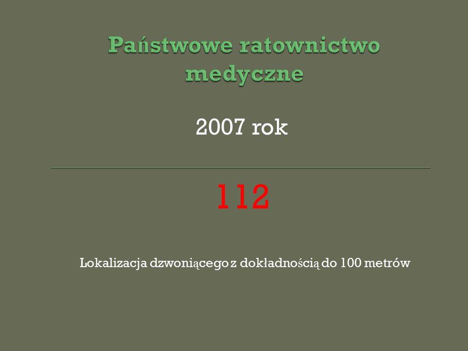 2007 rok 112 Lokalizacja dzwoni ą cego z dok ł adno ś ci ą do 100 metrów