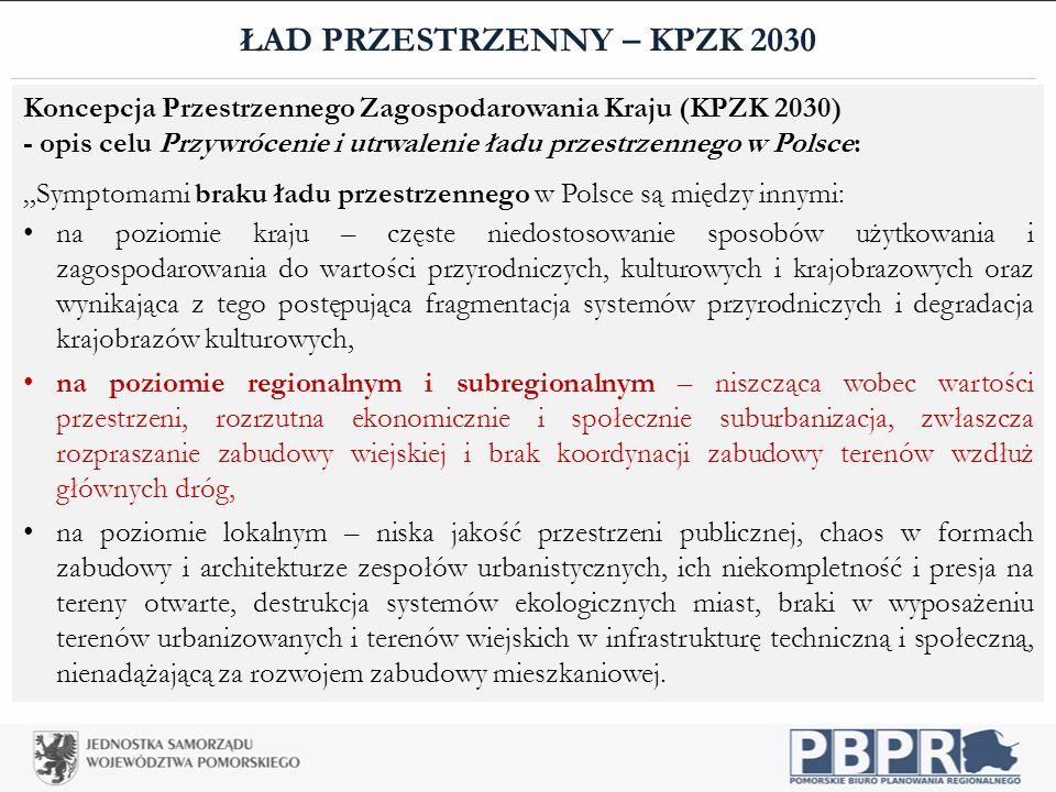 """ŁAD PRZESTRZENNY – KPZK 2030 Koncepcja Przestrzennego Zagospodarowania Kraju (KPZK 2030) - opis celu Przywrócenie i utrwalenie ładu przestrzennego w Polsce: """"Symptomami braku ładu przestrzennego w Polsce są między innymi: na poziomie kraju – częste niedostosowanie sposobów użytkowania i zagospodarowania do wartości przyrodniczych, kulturowych i krajobrazowych oraz wynikająca z tego postępująca fragmentacja systemów przyrodniczych i degradacja krajobrazów kulturowych, na poziomie regionalnym i subregionalnym – niszcząca wobec wartości przestrzeni, rozrzutna ekonomicznie i społecznie suburbanizacja, zwłaszcza rozpraszanie zabudowy wiejskiej i brak koordynacji zabudowy terenów wzdłuż głównych dróg, na poziomie lokalnym – niska jakość przestrzeni publicznej, chaos w formach zabudowy i architekturze zespołów urbanistycznych, ich niekompletność i presja na tereny otwarte, destrukcja systemów ekologicznych miast, braki w wyposażeniu terenów urbanizowanych i terenów wiejskich w infrastrukturę techniczną i społeczną, nienadążającą za rozwojem zabudowy mieszkaniowej."""