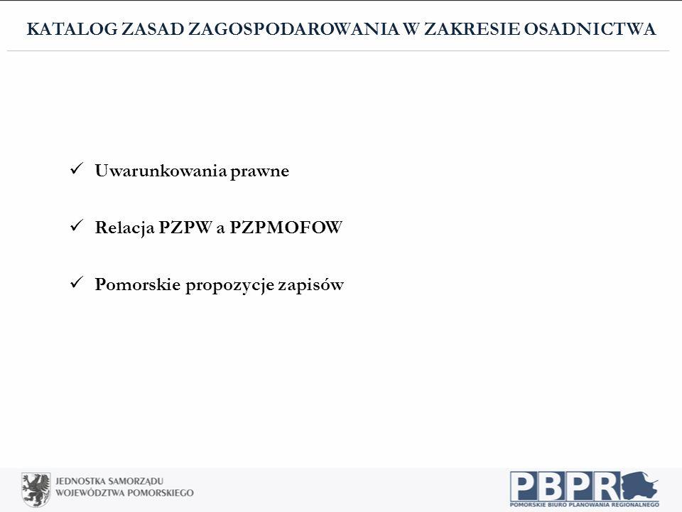 Uwarunkowania prawne Relacja PZPW a PZPMOFOW Pomorskie propozycje zapisów KATALOG ZASAD ZAGOSPODAROWANIA W ZAKRESIE OSADNICTWA