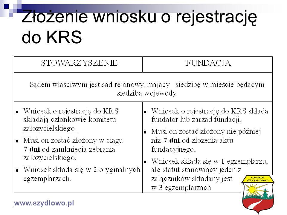 Złożenie wniosku o rejestrację do KRS www.szydlowo.pl