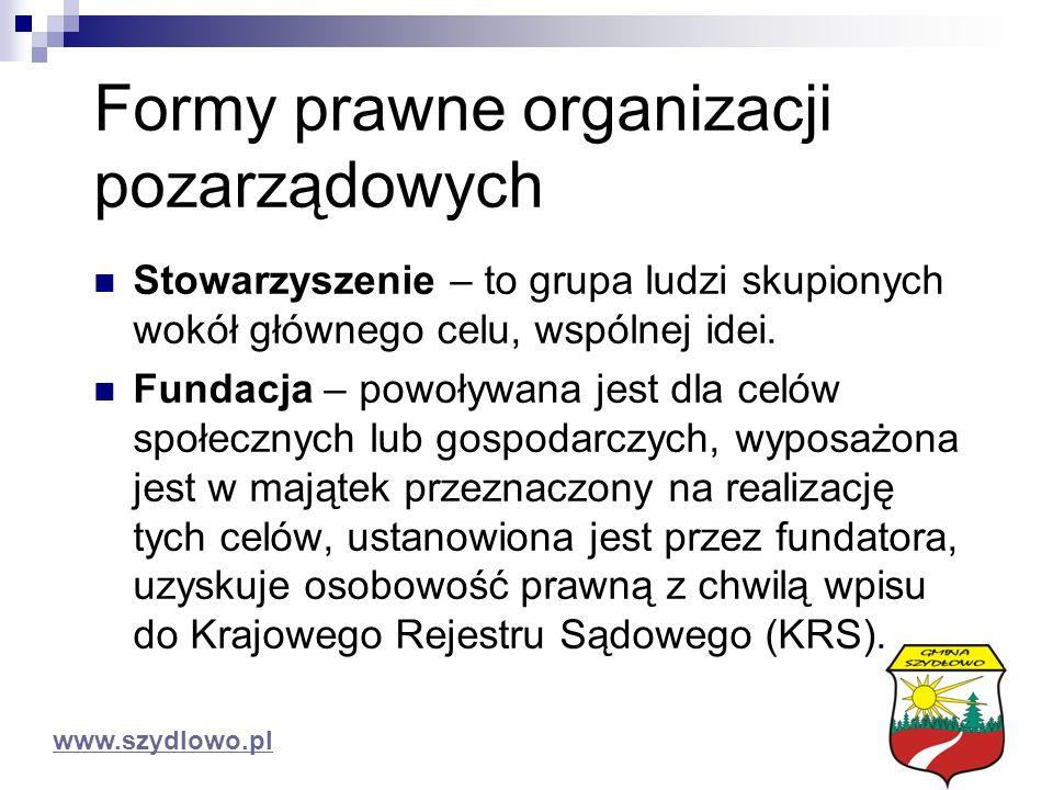 Formy prawne organizacji pozarządowych Stowarzyszenie – to grupa ludzi skupionych wokół głównego celu, wspólnej idei.