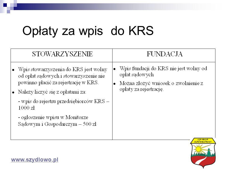Opłaty za wpis do KRS www.szydlowo.pl