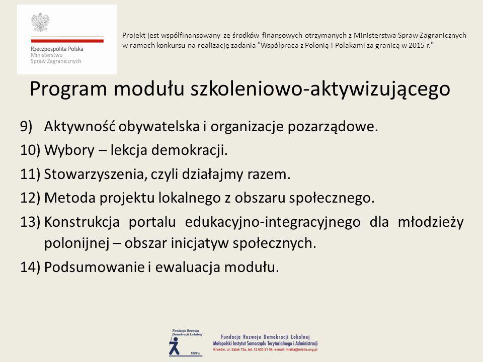9)Aktywność obywatelska i organizacje pozarządowe.