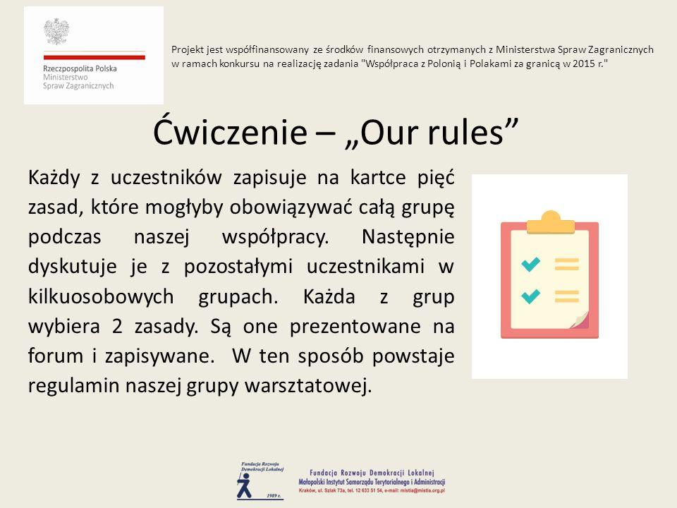 Każdy z uczestników zapisuje na kartce pięć zasad, które mogłyby obowiązywać całą grupę podczas naszej współpracy.