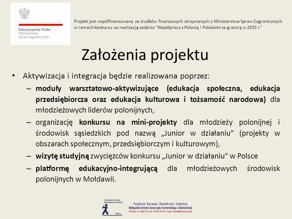 """Aktywizacja i integracja będzie realizowana poprzez: – moduły warsztatowo-aktywizujące (edukacja społeczna, edukacja przedsiębiorcza oraz edukacja kulturowa i tożsamość narodowa) dla młodzieżowych liderów polonijnych, – organizację konkursu na mini-projekty dla młodzieży polonijnej i środowisk sąsiedzkich pod nazwą """"Junior w działaniu (projekty w obszarach społecznym, przedsiębiorczym i kulturowym), – wizytę studyjną zwycięzców konkursu """"Junior w działaniu w Polsce – platformę edukacyjno-integrującą dla młodzieżowych środowisk polonijnych w Mołdawii."""