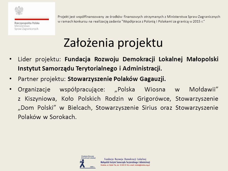 Lider projektu: Fundacja Rozwoju Demokracji Lokalnej Małopolski Instytut Samorządu Terytorialnego i Administracji.