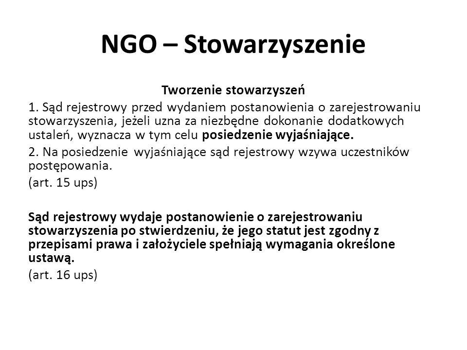 NGO – Stowarzyszenie Tworzenie stowarzyszeń 1. Sąd rejestrowy przed wydaniem postanowienia o zarejestrowaniu stowarzyszenia, jeżeli uzna za niezbędne