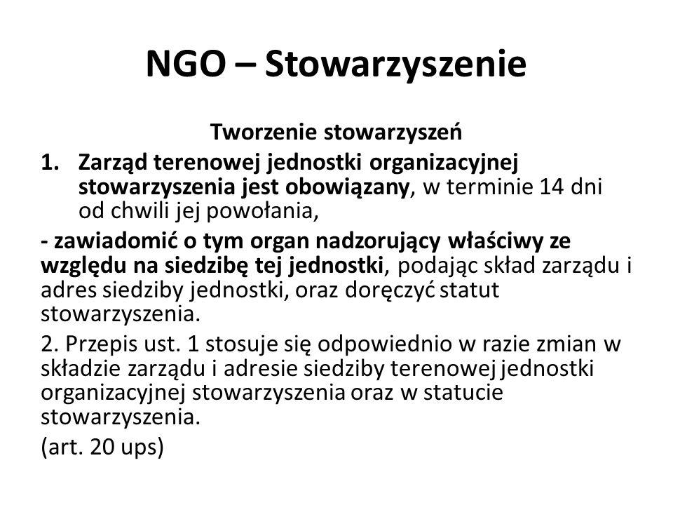 NGO – Stowarzyszenie Tworzenie stowarzyszeń 1.Zarząd terenowej jednostki organizacyjnej stowarzyszenia jest obowiązany, w terminie 14 dni od chwili je