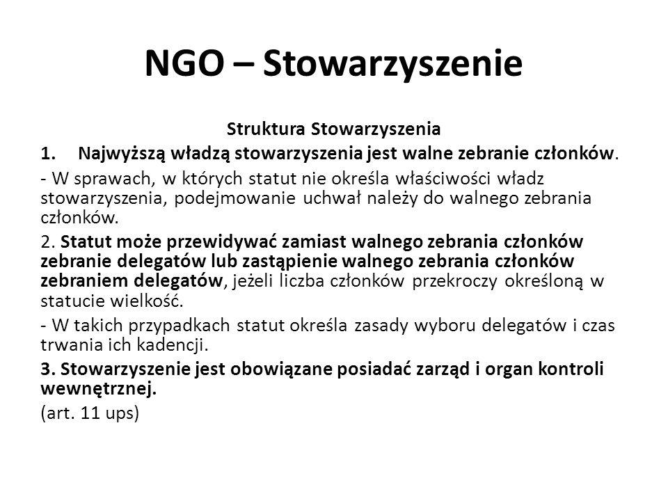 NGO – Stowarzyszenie Struktura Stowarzyszenia 1.Najwyższą władzą stowarzyszenia jest walne zebranie członków. - W sprawach, w których statut nie okreś