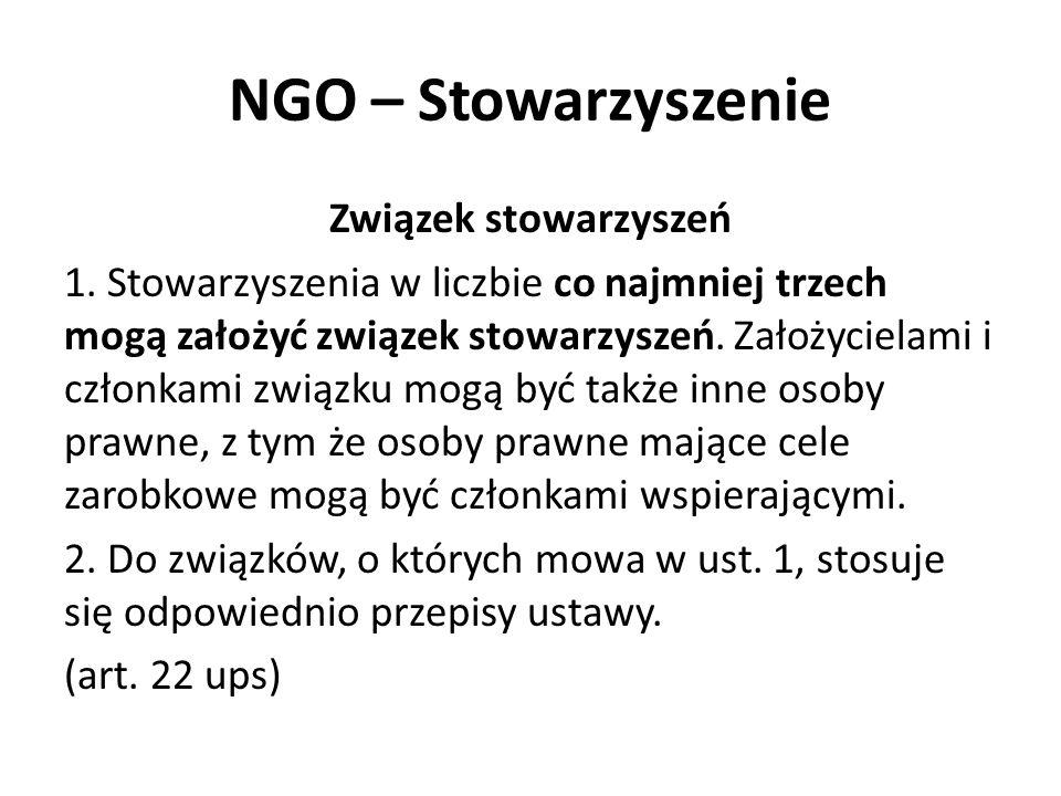 NGO – Stowarzyszenie Związek stowarzyszeń 1. Stowarzyszenia w liczbie co najmniej trzech mogą założyć związek stowarzyszeń. Założycielami i członkami