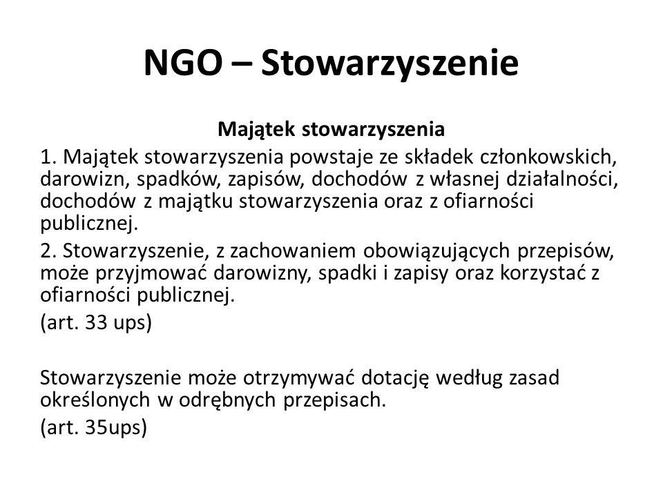 NGO – Stowarzyszenie Majątek stowarzyszenia 1. Majątek stowarzyszenia powstaje ze składek członkowskich, darowizn, spadków, zapisów, dochodów z własne