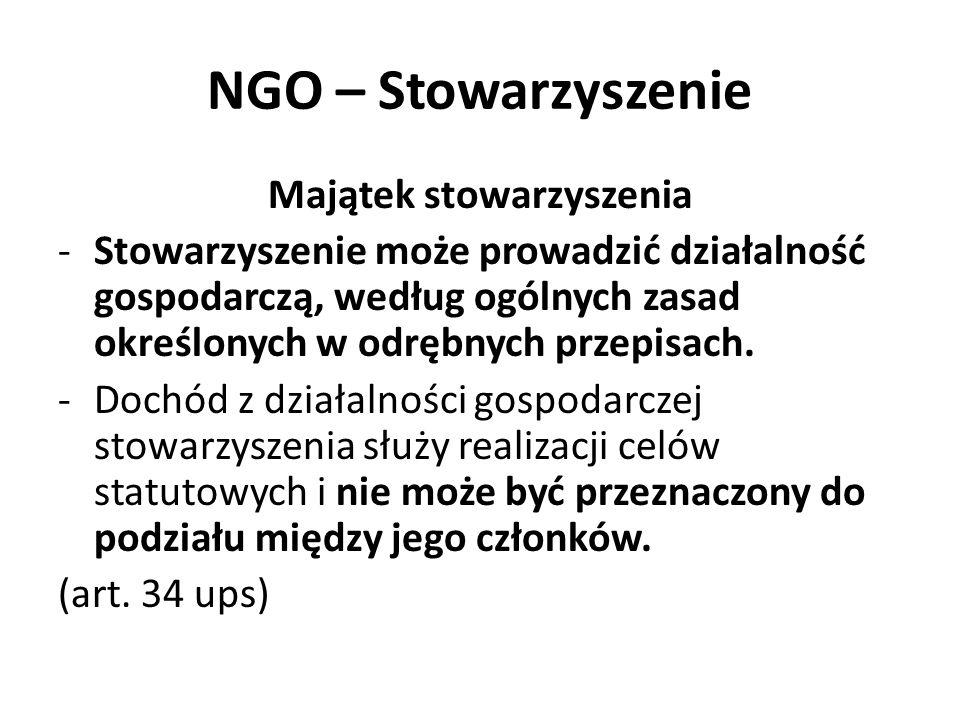 NGO – Stowarzyszenie Majątek stowarzyszenia -Stowarzyszenie może prowadzić działalność gospodarczą, według ogólnych zasad określonych w odrębnych prze