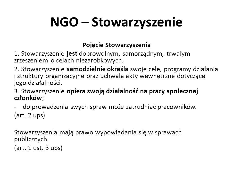 NGO – Stowarzyszenie Pojęcie Stowarzyszenia 1. Stowarzyszenie jest dobrowolnym, samorządnym, trwałym zrzeszeniem o celach niezarobkowych. 2. Stowarzys