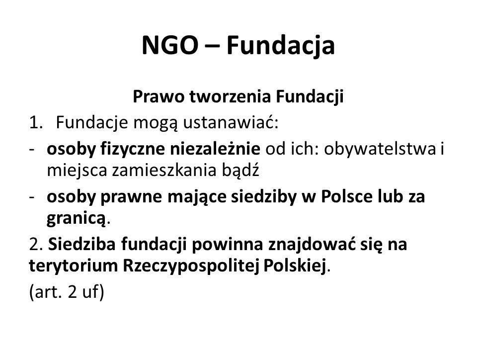 NGO – Fundacja Prawo tworzenia Fundacji 1.Fundacje mogą ustanawiać: -osoby fizyczne niezależnie od ich: obywatelstwa i miejsca zamieszkania bądź -osoby prawne mające siedziby w Polsce lub za granicą.