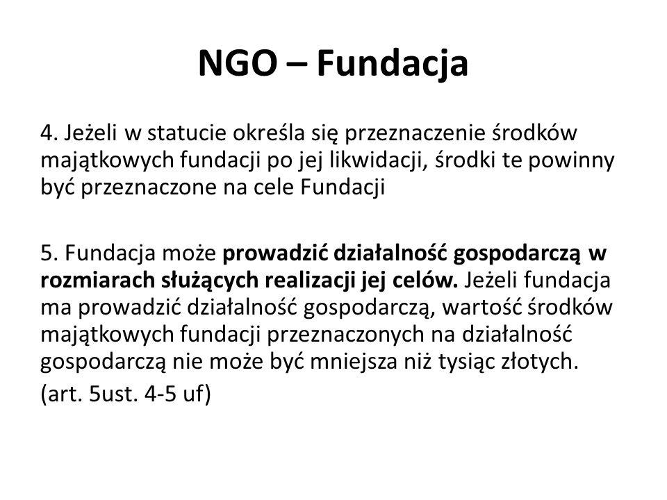 NGO – Fundacja 4. Jeżeli w statucie określa się przeznaczenie środków majątkowych fundacji po jej likwidacji, środki te powinny być przeznaczone na ce